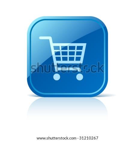 Shopping cart icon on blue web button - stock vector