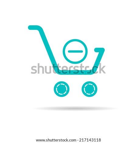 Shopping cart icon, shopping basket design, trolley. - stock vector