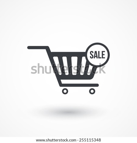 Shopping Cart Icon with SALE text - stock vector