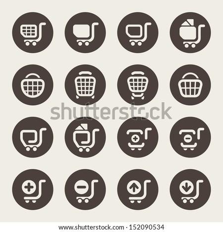 Shopping cart icons - stock vector