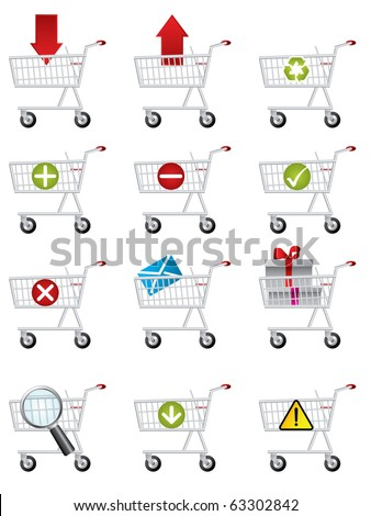Shopping cart icons - stock vector