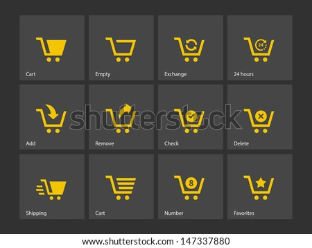 Shopping cart icons on gray background. Vector illustration. - stock vector