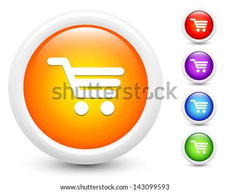 Shopping Cart Icons on Round Button Collection Original Illustration
