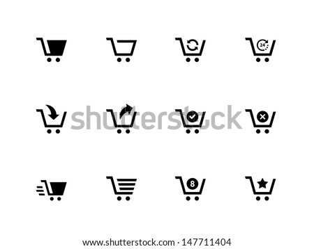 Shopping cart icons on white background. Vector illustration. - stock vector