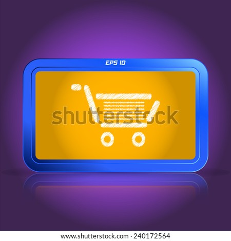 Shopping cart icons. Scribble and hatching style. Specular reflection. Made vector illustration