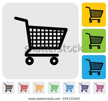 Shopping cart icons ( signs ) for online purchases- vector graphic. The illustration has simple colorful icons on green, orange & blue backgrounds & is useful for websites, blogs,  printing, etc - stock vector