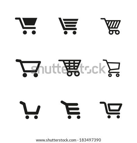 shopping cart Icons Vector set. shopping cart Icons Symbol set. shopping cart Icons Picture set. shopping cart Icon Image set. shopping cart Icons Shape set. shopping cart Icons Sign set - stock vector