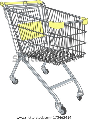 shopping cart in a supermarket on wheels vector