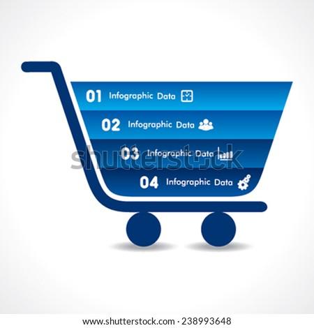 shopping cart info-graphic design stock vector - stock vector