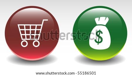 Shopping Cart & Money Bag Sign Icon - stock vector