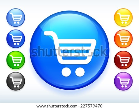 Shopping Cart Multi Color Round Button
