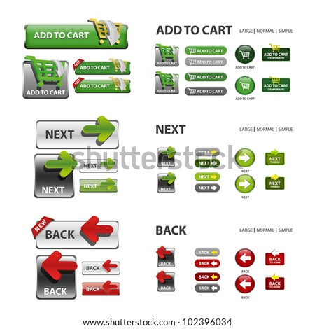 shopping cart, next and back icons / collection of vector icons and buttons - web elements - stock vector