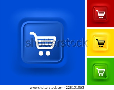Shopping Cart on Blue Bevel Square Button