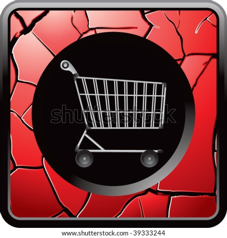 Shopping cart on red cracked web button - stock vector
