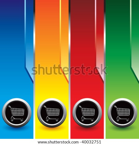 shopping cart on vertical colored banners - stock vector