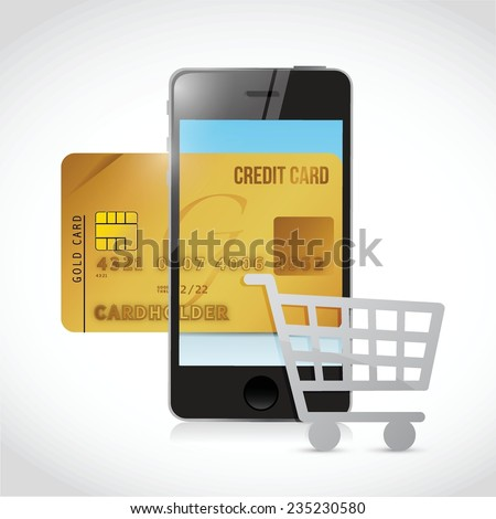shopping cart phone concept illustration design over a white background