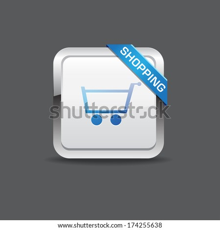 Shopping Cart Rounded Square Vector Button Icon