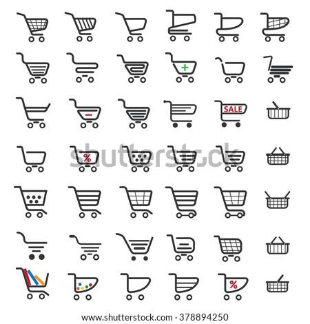 shopping cart, shopping cart icon, shopping cart Icon vector, shopping trolley icon, trolley icon, shopping cart icons, shopping vector icon, commerce icons, sale icons, buy icons - stock vector