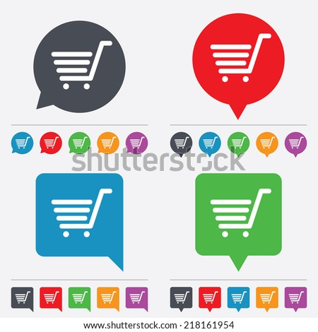 Shopping Cart sign icon. Online buying button. Speech bubbles information icons. 24 colored buttons. Vector - stock vector