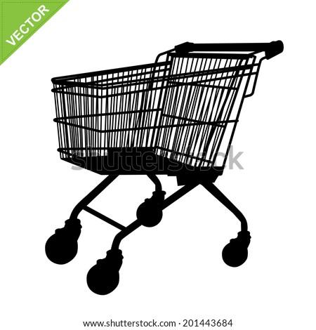Shopping cart silhouette vector - stock vector