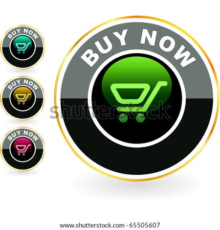 Shopping cart. Vector button set. - stock vector