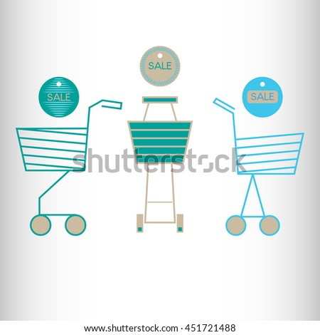 Shopping cart. Vector icon. - stock vector