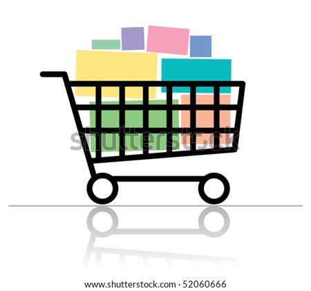 Shopping cart, vector illustration - stock vector