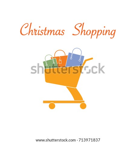 Shopping cart with gift bags. Design for banner, poster or print.