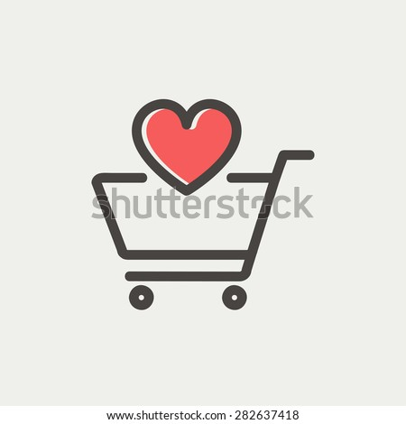Shopping cart with heart icon thin line for web and mobile, modern minimalistic flat design. Vector icon with dark grey outline and offset colour on light grey background. - stock vector