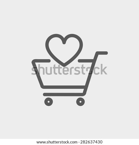 Shopping cart with heart icon thin line for web and mobile, modern minimalistic flat design. Vector dark grey icon on light grey background. - stock vector