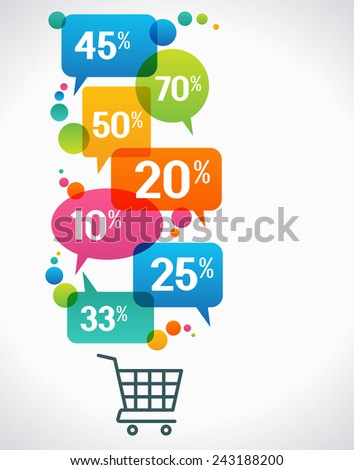 Shopping cart with percent discounts. Flat modern design.  concept of sales. The file is saved in the version AI10 EPS. This image contains transparency. - stock vector