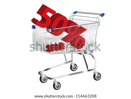 shopping cart with SALE and 50% Symbol inside vector images - stock vector