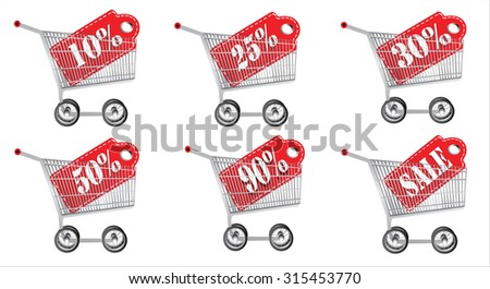Shopping cart with sale tag. Concept of discount. Vector illustration. - stock vector