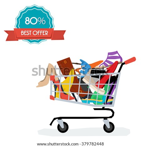 Shopping cart with spring and summer womens shoes. Fat style isolated on white. Fashion design, elegance, femininity. Vector illustration. Badge discount - stock vector
