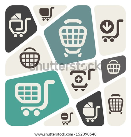 Shopping carts background - stock vector