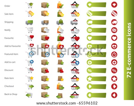 Shopping carts, baskets and boxes icons - stock vector