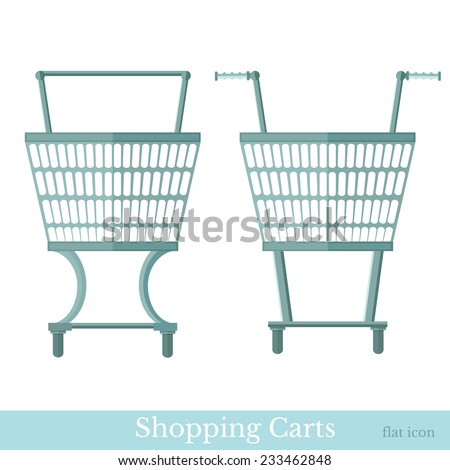 shopping carts front view - stock vector