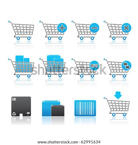 Shopping Carts icon set 21 - Blue Series.  Vector EPS 8 format, easy to edit. - stock vector