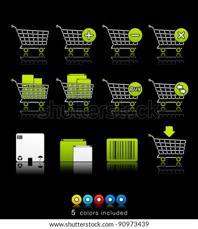Shopping Carts icon set 21 - Multi Color Series. Icon set in EPS 8 format, contains five color variations in different layers - stock vector