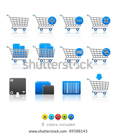 Shopping Carts icon set 21 - Multi Color Series.  Icon set in EPS 8 format with high resolution JPEG EPS file contains five color variations in different layers - stock vector