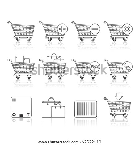 Shopping Carts icon set 21 - Strokes Series.  Vector EPS 8 format, easy to edit. - stock vector