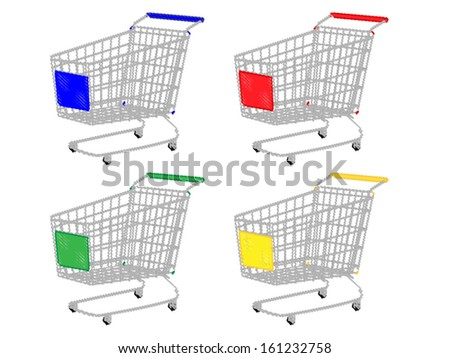 Shopping Carts in Different Colours Blue Red Green Yellow Pencil Style - stock vector