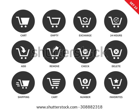 Shopping carts vector icons set. Consumerism concept. Items for shopping centre advertising, empty cart, delete, remove, number and other signs. Isolated on white background - stock vector
