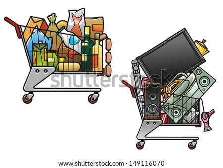 Shopping carts with goods isolated on white background for store or market design - stock vector