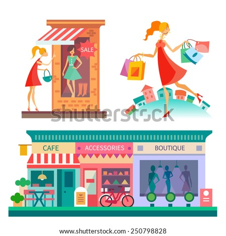 Shopping center: cafe, accessories, boutique. City scape, fashion. Girl with shopping bags. Vector flat illustrations - stock vector