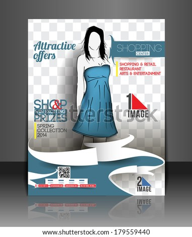 Shopping Center Store Front Flyer Template  - stock vector