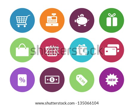 Shopping circle icons on white background. Vector illustration.
