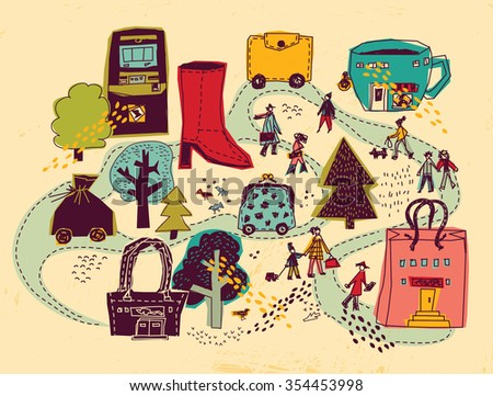 Shopping city people and objects color scene. People on the street and shops. Color vector illustration. EPS8 - stock vector