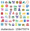 Shopping colored icons, vector illustrations - stock vector