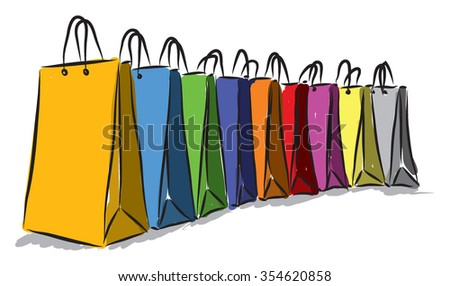 shopping colors bags illustration  - stock vector